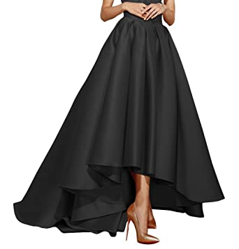 c98fc6290ce Satin High-Low Maxi Prom Party Skirts High Waist Pleated A Line Skater Dress  Black