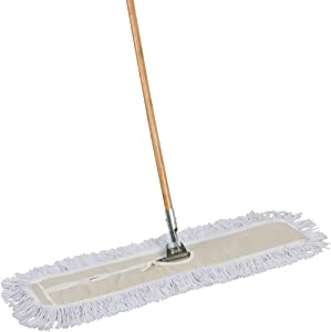 Tidy Tools Industrial Strength Cotton Dust Mop with Solid 63'' Wood Handle and Metal Frame. 35'' X 5'' Wide Cotton Mop Head