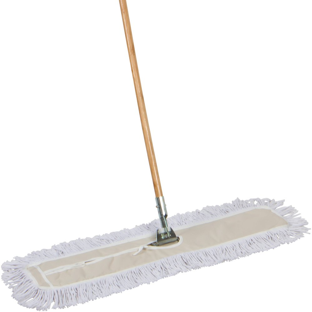 American Market Industrial Strength Cotton Dust Mop With Solid 63'' Wood Handle and Metal Frame. 35'' X 5'' Wide Cotton Mop Head