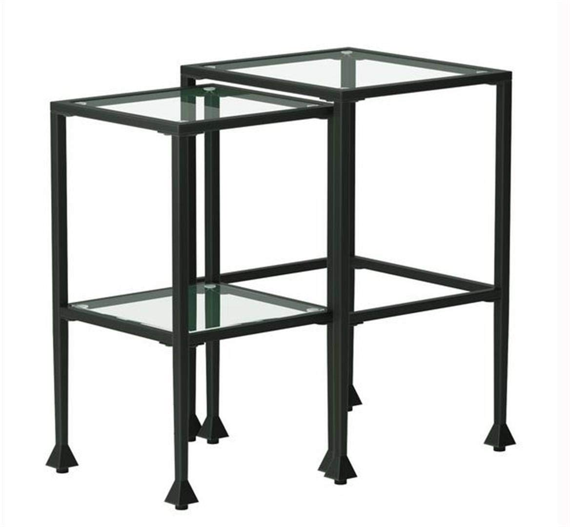2-piece Glass and Metal Nesting Tables Black by Coaster Home Furnishings