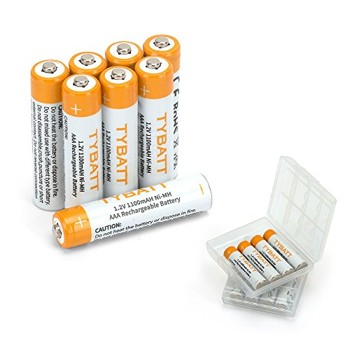 (TYBATT AAA NiMh Rechargeable Batteries, 8-Pack with 2 Storage Cases, 1100mAh High Capacity Household Battery Pack)