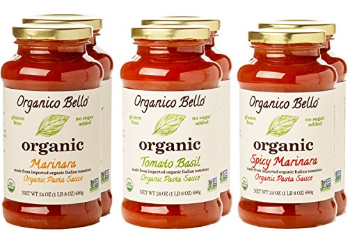 Organico Bello - Organic Gourmet Pasta Sauce - Variety Pack - 24oz (Pack of 6) - Non GMO, Whole 30 Approved, Gluten Free
