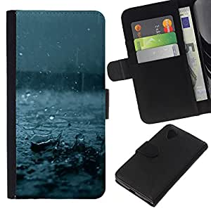 For LG Nexus 5 D820 D821 Case , Fall Blue Storm Summer Nature - la tarjeta de Crédito Slots PU Funda de cuero Monedero caso cubierta de piel