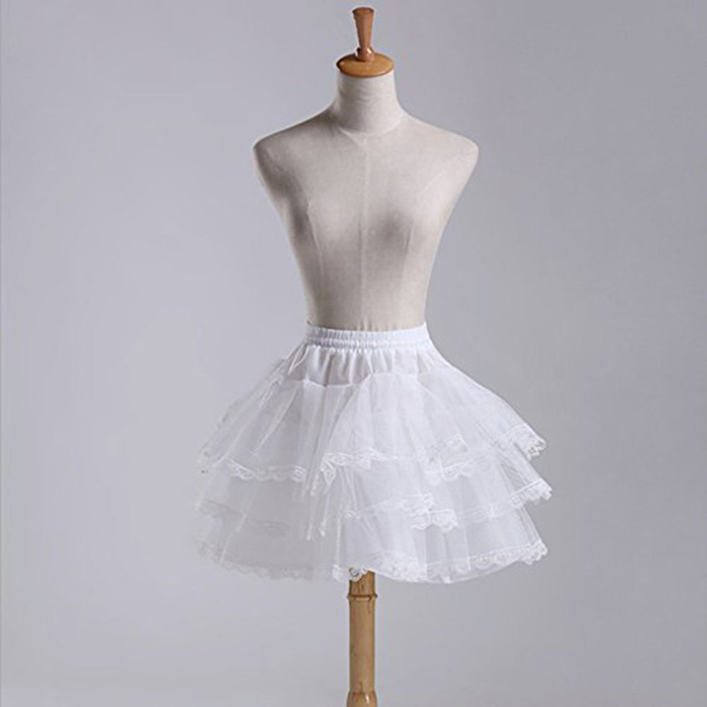 MLQM Flower Girl Petticoats 3 Layers Hoopless Lace Edge Tulle Underskirt Slips