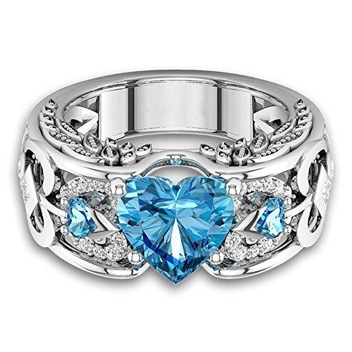 - ✸KOKOPOLA✸ Heart Shaped Diamond Ring for Women Bridal Ruby Gemstone Ring Engagement Birthstone Ring