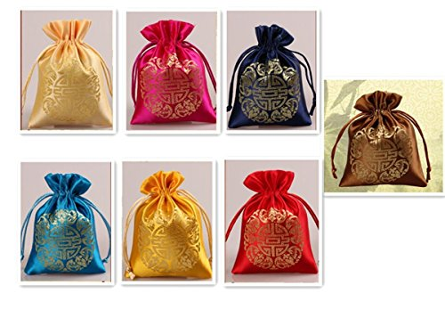 chet Candy Drawer Pouch Jewelry Travel Drawstring Coin Purse Bag 7pcs SND008 (Brocade Pouch)