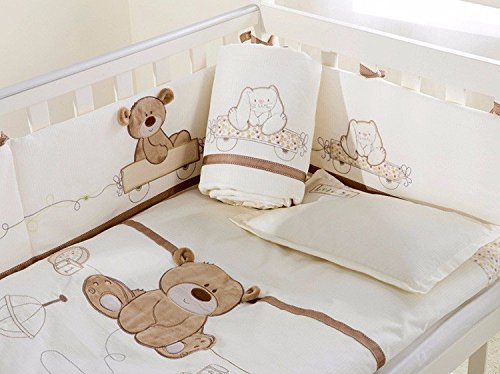 JACKBABYBABY Unisex Baby Bedding Set Cotton 3D Embroidery Bear Quilt Pillow Bumper Bed Sheet 5 Pieces Crib Bedding Set White Color by JACKBABYBABY (Image #2)