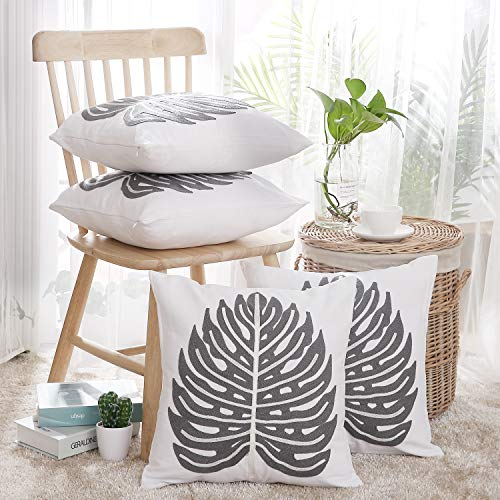 Deconovo Embroidered Throw Pillow Covers for Bed Monstera Leaf Handmade Toss Cushion Cases with Invisible Zipper Cotton 18x18 Inch Grey and White Set of 4 Pieces
