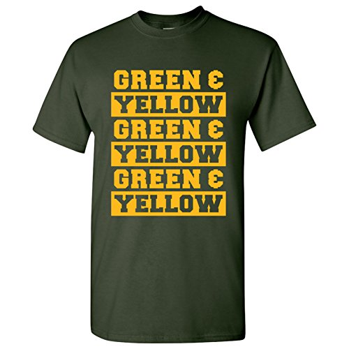 Green Bay Packers Cloths (Green and Yellow - Green Bay, Football, Packers Basic Cotton T-Shirt - Medium - Forest)