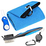 Mile High Life Microfiber Waffle Pattern Golf Towel | Club Groove Cleaner Brush | Foldable Divot Tool with Magnetic Ball Marker (Blue Towel/Brush/Curve Divot)