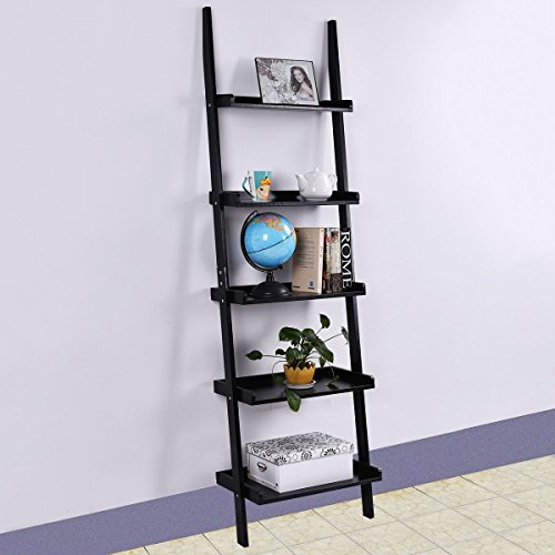 TANGKULA Ladder Bookcase 5-Tire Wood Leaning Shelf for Home Office Modern Flower Book Display Shelf Storage Rack Stable A-Frame Wooden Ladder Shelf Country Ladder