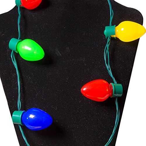 Led Light Up Christmas Bulb Necklace Party Favors 1 Pack New