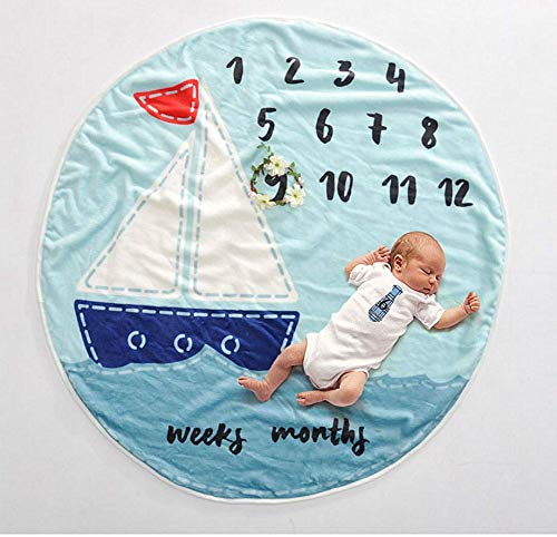 AmazingM Newborn Baby Shower Gifts Set for Boy and Girl,Monthly Baby Milestone Blanket(Sailboat), with Bonus One Floral Wreath,24 pcs Milestone Stickers,37'' by AmzingM (Image #1)