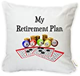Rikki Knight My Retirement Plan is Bingo Microfiber Throw Décor Pillow Case Cushion Cover Square (Insert NOT included) - 18'' X 18'' - PRINTED IN THE USA