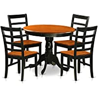 East West Furniture ANPF5-BLK-W 5 Piece with 4 Wooden Chairs Antique Dining Set, Black Finish