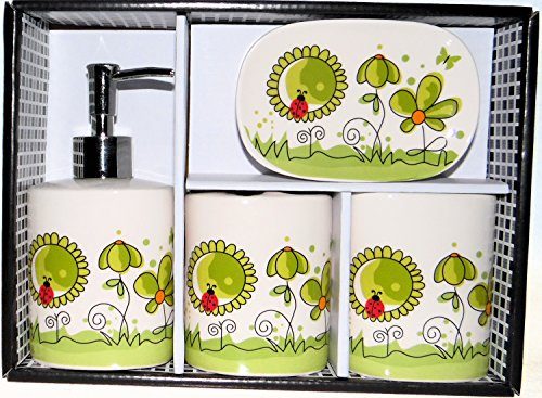Lady Bug and Flower Design 4 Piece Ceramic Bath Ensemble with Soap Dish, Lotion Dispenser, Toothbrush Holder & Tumbler
