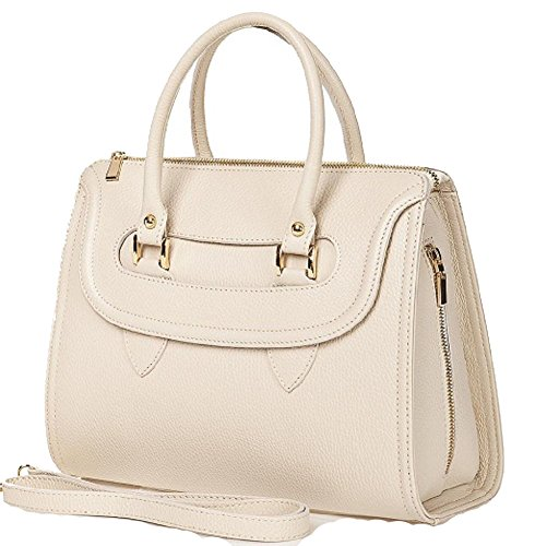 Borsa a mano in vera pelle colore beige made in Italy
