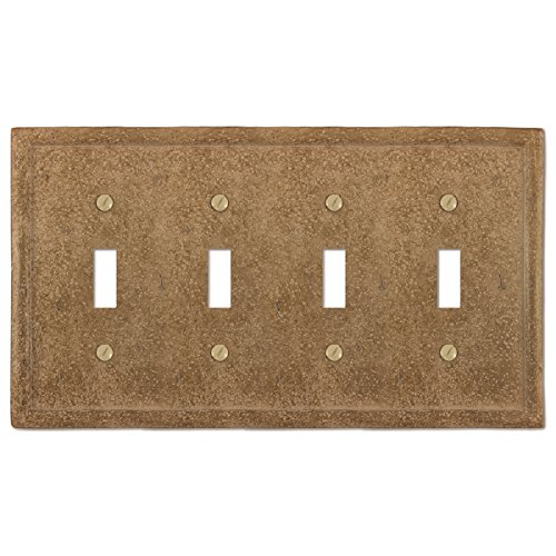 Amerelle Textured Stone Quadruple Toggle Resin Wallplate in Noce