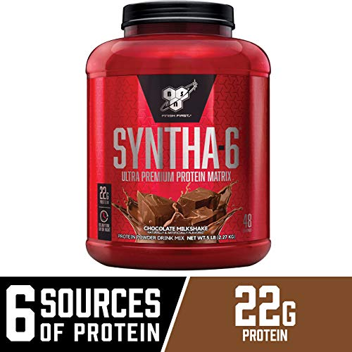BSN SYNTHA-6 Whey Protein Powder, Micellar Casein, Milk Protein Isolate, Chocolate Milkshake, 48 Servings (Packaging May - 100% Egg Optimum Protein