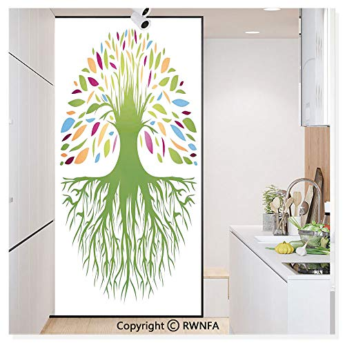Decorative Window Films Kitchen Glass Sticker Illustration of Multi Colored Round Abstract Tree Life and Soul Symbol Eco Nature Design Waterproof Anti-UV for Home and Office 11.8