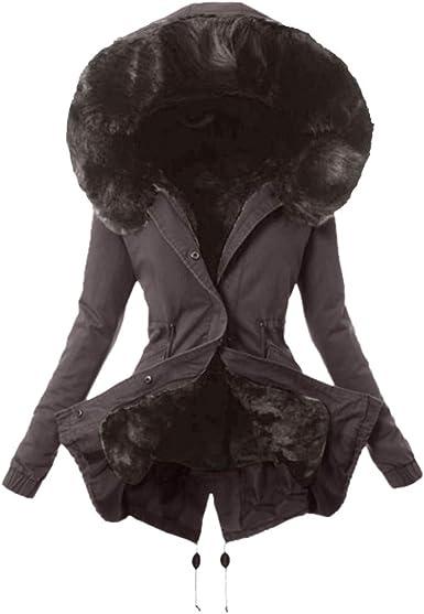 Veste Femme Chic,Dames Doublure en Fourrure Manteau l'hiver Chaud Épais Longue Veste Encapuchonné Pardessus Blouson Hiver Femme Chaude Manteau Femme
