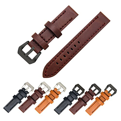 Genuine Leather Watch Band 20mm 22mm 24mm Leather Watch Strap Top Calf Grain Watch Bands for Men and Women (22mm, Dark Brown(Black Buckle)) Gents Black Leather Watch