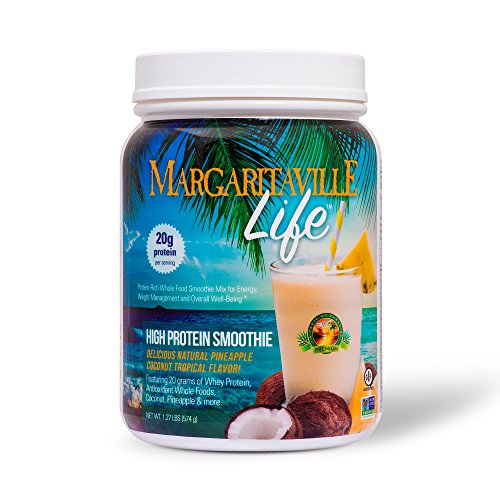 Margaritaville Life Tropical Smoothie Mix Protein Powder, 1.27 lbs - Made with Real Coconut & Pineapple - Delicious Taste, Whole Food Nutrients, Vitamins & Antioxidants - Non GMO, Gluten Free