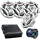 Marine Speaker And Amp Package: 4x JVC CS-DR6201MW 300-Watt 6.5 2-Way Coaxial Speakers Bundle Combo With Enrock 400-Watt 4-Channel Black Waterproof Bluetooth Amplifier + 50Ft 16g Speaker Wire