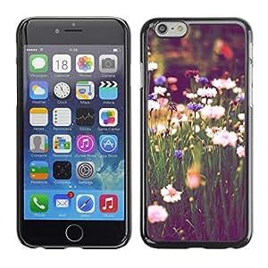 FECELL CITY // Duro Aluminio Pegatina PC Caso decorativo Funda Carcasa de Protección para Apple Iphone 6 // Field Daisies Green Blooming Vignette