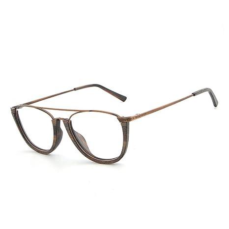 Gafas Lisas Plato Grano de Madera Medio Marco Gafas de Moda ...