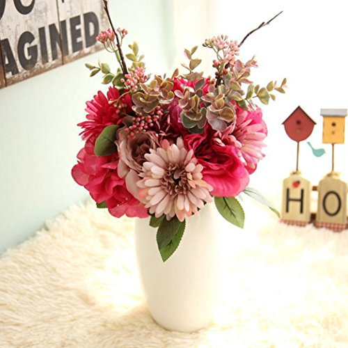Artificial flowers,GOODCULLER Artificial Fake Flowers Rose Bouquet Floral Wedding Bouquet Party Home Decor For Decorating Wedding Party Your Home (Hot pink)