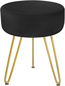 Velvet Footrest Stool Ottoman Round Modern Upholstered Vanity Footstool Side Table Seat Dressing Chair with Golden Metal Leg Black