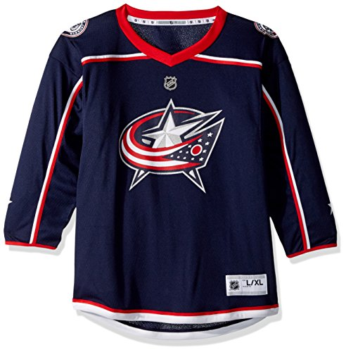 OuterStuff NHL Columbus Blue Jackets Youth Boys Replica Home-Team Jersey, Small/Medium, (Navy Blue Replica Jersey)