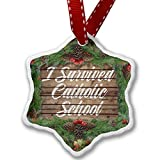 Christmas Ornament Painted Wood I Survived Catholic School - Neonblond