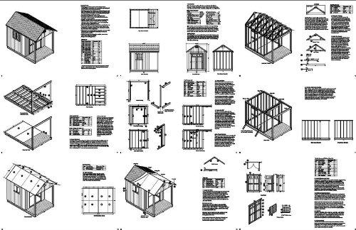 12' x 8' Cabin Loft Utility Shed with Porch Plans / Plueprint - Design #P61208