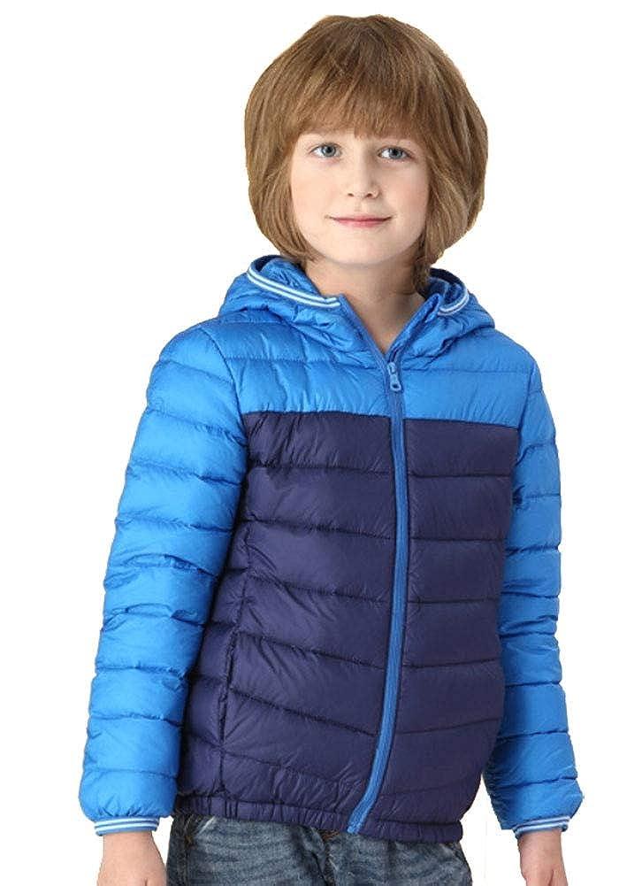 bleu 130cm YZ-HODC Doudoune légère d'hiver pour Enfants Nouvelle Couleur Assorcravate aux garçons et aux Filles Doudoune Grande Veste pour Enfants