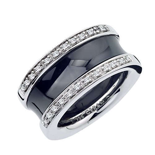 12mm Diamond Band in Black Ceramic and Sterling Silver (0.16 carats, H-I I2 I3) by AX Jewelry
