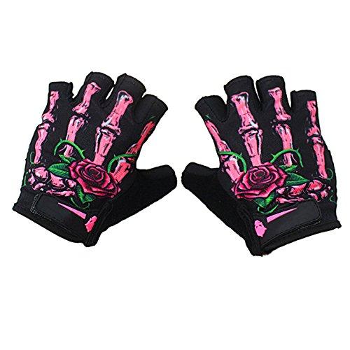 Skull Motorcycle Glove (Cycling Gloves Half-Finger Skeleton Bike Motorcycle Gloves Men's/Women's Breathable Mountain Skull Spring Summer Gloves Mittens,White/Green/Pink)