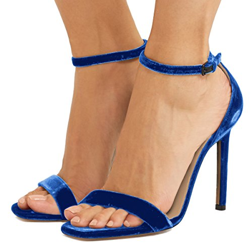 Fsj Mujeres Classic Sandalias De Punta Abierta Tobillo Correa Stiletto Tacón Alto Fiesta De Terciopelo Zapatos De Prom Tamaño 4-15 Us Azul