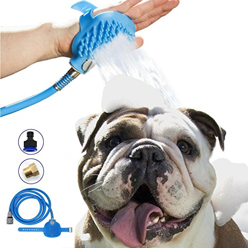 Maci-Fresh Pet Bathing Tool | Deluxe Shower Sprayer and Scrubber In-One for Pets | 8 ft Hose, Pet Grooming & Washing Tools for Dog Bath | Indoor Shower/Bathtub and Outdoor Garden Hose Compatible (Shower Tub Adapter)
