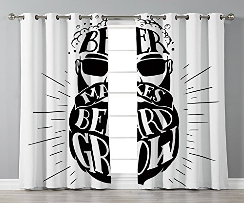 iPrint Stylish Window Curtains,Man Cave Decor,Beer Makes Beard Grow Oktoberfest Inspired Illustration Man Portrait,Black and White,2 Panel Set Window Drapes,for Living Room Bedroom Kitchen -