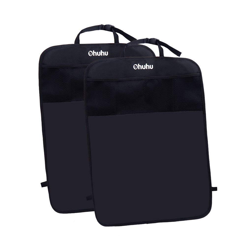 Ohuhu Car Seat Protector, Kick Mats Back Seat Protector with Storage Organizer Pocket, 2 Pack, One Size Fits Most Car, SUV, Truck, or Van