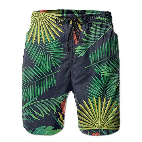 Qpkia Rainforest Tropical Aloha Floral Men Swim Trunk Beach Shorts Boardshorts Pants Pocket