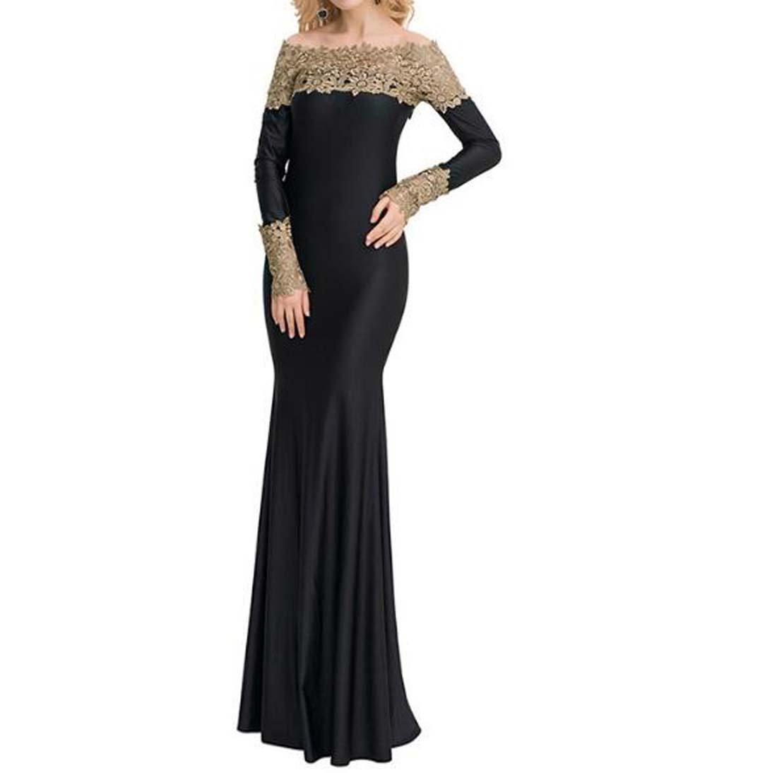 HEFEI -Un -Un HEFEI Vestido de Noche de Encaje con Hombros Descubiertos de una Sirena Sexy para Mujer con Hombros Descubiertos XIAOXIAO (Color : Amarillo, tamaño : XXXXXL) 825aeb
