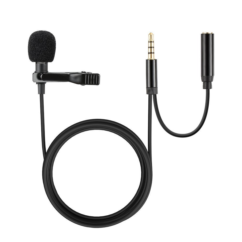 Moreslan Lavalier Lapel Microphone with headphone jack, 3.5mm Lapel Clip-on Omnidirectional Condenser Microphone for iPhone, Android & Windows Smartphones, Video Recording, Interview, Youtube hkjdshkj30