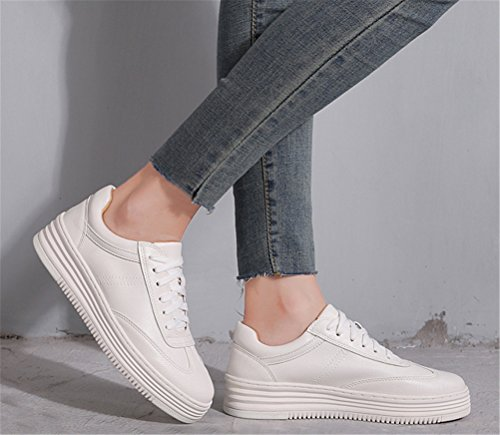 ACE SHOCK Flat Sneakers Women, Lace-up Casual Work Pumps Shoes White Size 5-9 Platform