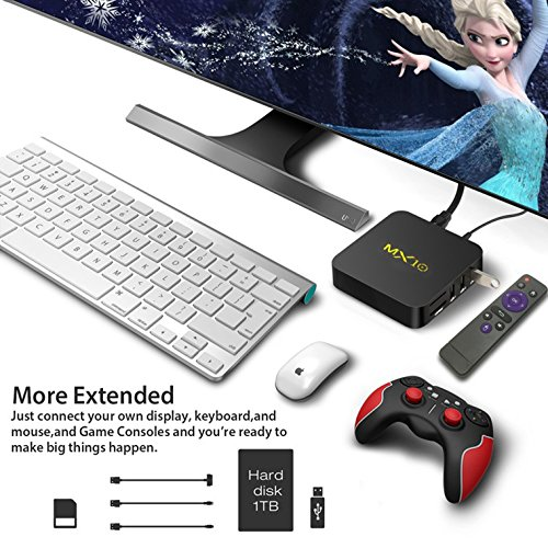 Android tv Box 8.1, Smart TV Android Box with Quad Core 4GB DDR4/32GB eMMC Storage True 4K HDR @60fps UHD Video Playback USB 3.0 and Fast Ethernet Port/WiFi