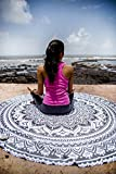 Indie Pop Mandala Round Tapestry Hippie Indian Mandala Beach Roundie Picnic Table Throw Hippy Bohemian Spread Boho Gypsy Cotton Tablecloth Beach Towel Meditation Round Yoga Mat - 72 Inches, Black Grey