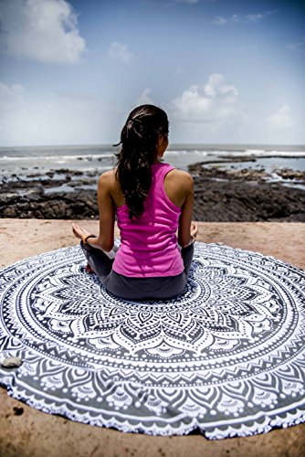 Indie Pop Mandala Round Tapestry Hippie Indian Mandala Beach Roundie Picnic Table Throw Hippy Bohemian Spread Boho Gypsy Cotton Tablecloth Beach Towel Meditation Round Yoga Mat - 72 Inches, Black Grey - Beach Theme Coffee