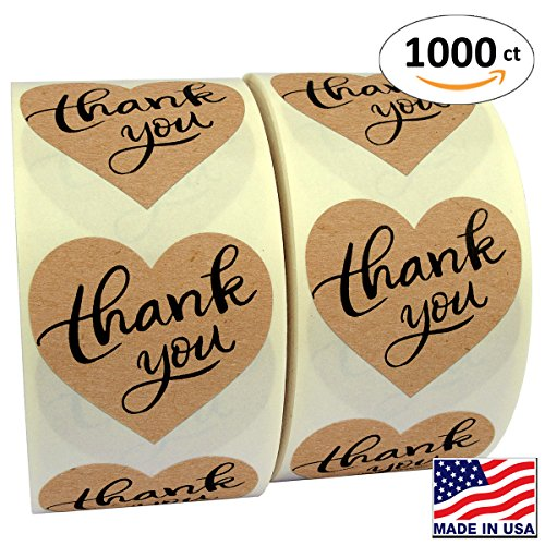 1 5  Heart Shape Kraft Paper Thank You Adhesive Label  1000 Stickers Per Roll  Love Shape  1 1 2 Inch